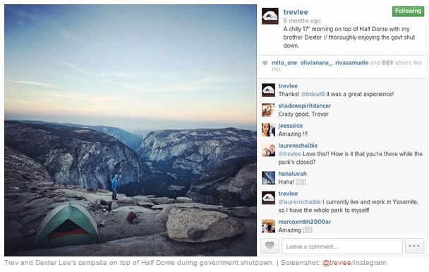"""Trevor Leen Instragram-päivitys: """"A chilly 17 morning on top of Half Dome with my brother Dexter//thorouhgly enjoying the govt shut down."""""""